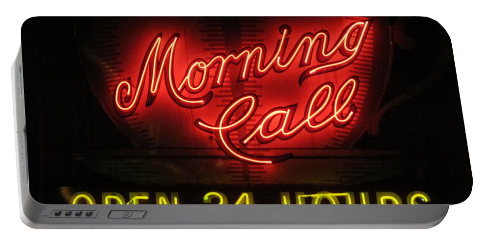 Neon Lights Portable Battery Charger featuring the photograph Morning Call Neon - New Orleans La by Deborah Lacoste