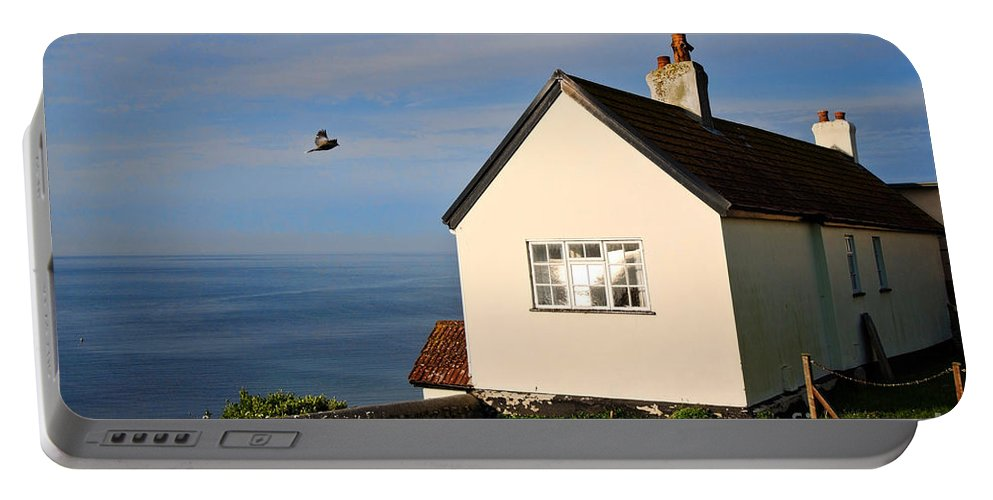 Cottage Portable Battery Charger featuring the photograph Morning Cottage At Lyme Regis by Susie Peek