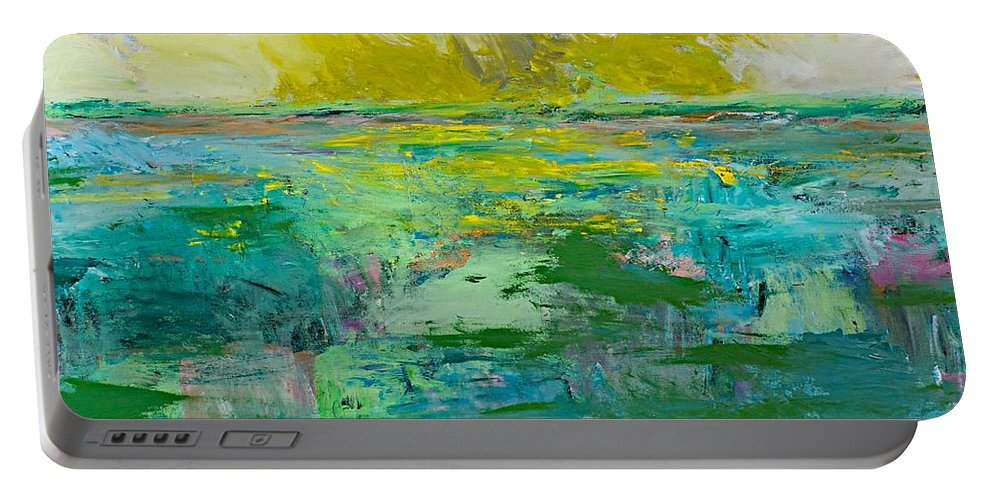 Decor Portable Battery Charger featuring the painting Morning Dew by Allan P Friedlander