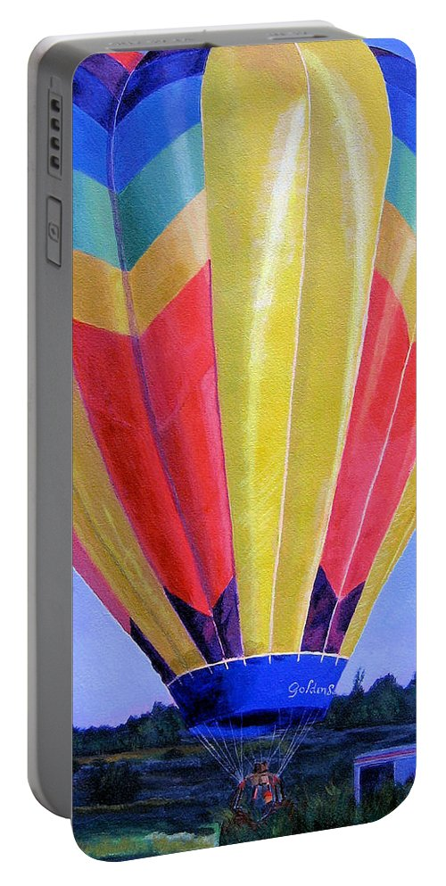 Acrylic Portable Battery Charger featuring the painting Morning Flight by Lynne Reichhart
