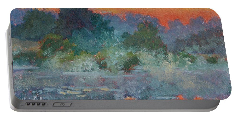 Impressionism Portable Battery Charger featuring the painting Morning Fog by Keith Burgess