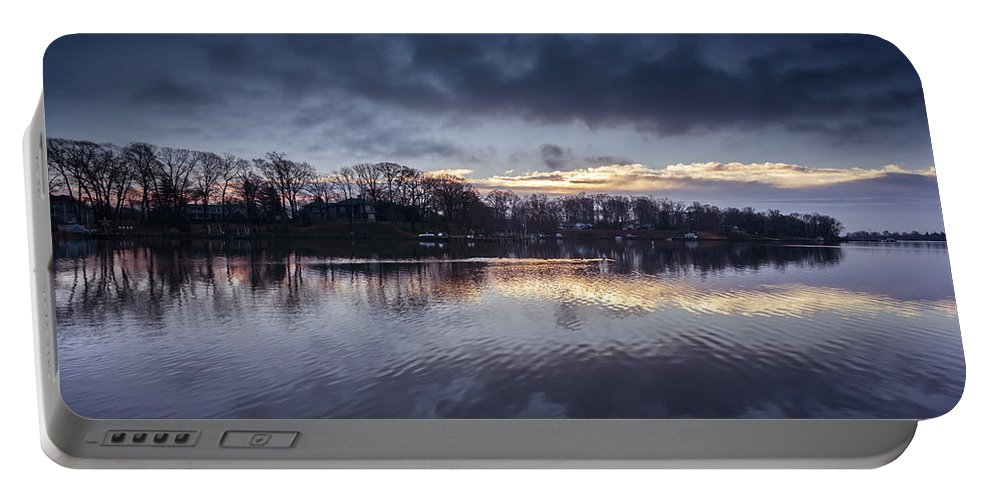 Mill Creek Portable Battery Charger featuring the photograph Morning Glow by Edward Kreis