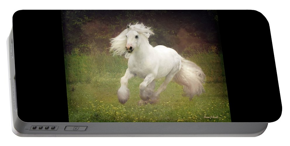 Horses Portable Battery Charger featuring the photograph Morning Mist C by Fran J Scott