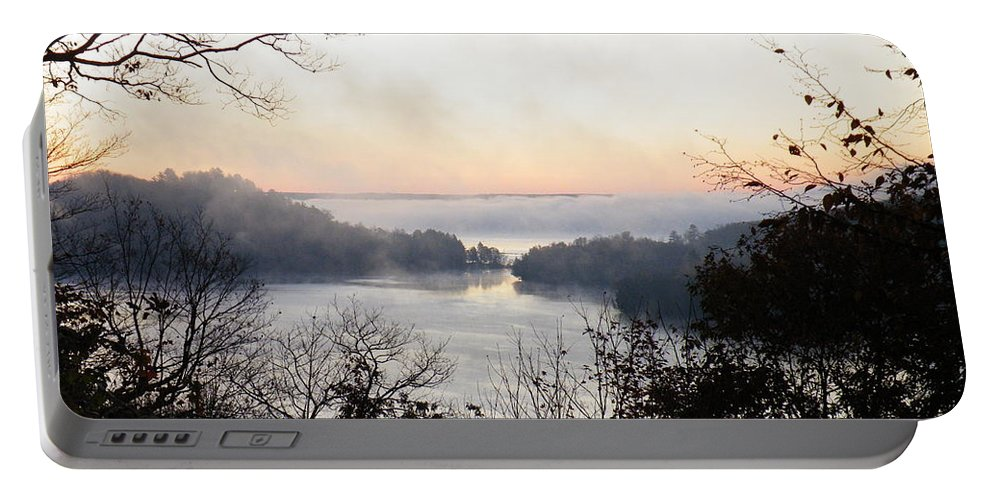 Landscape Portable Battery Charger featuring the photograph Morning Mist by Davandra Cribbie