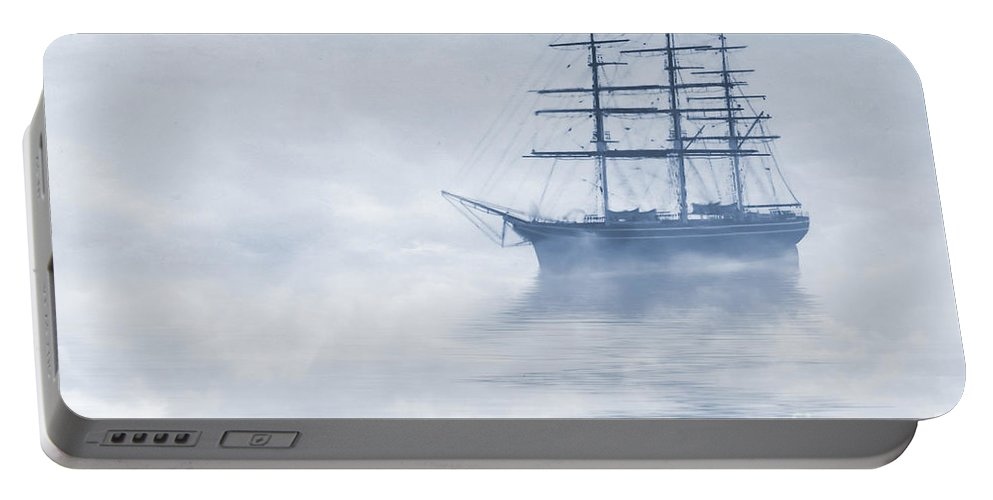 Sailing Ship Portable Battery Charger featuring the painting Morning Mists Cyanotype by John Edwards