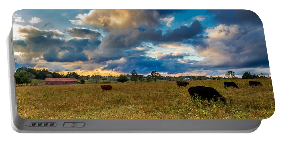 Rural Portable Battery Charger featuring the photograph Morning On The Farm Two by Ken Frischkorn