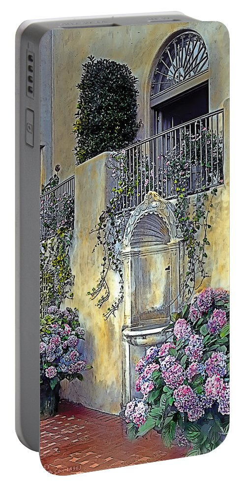 Tranquil Portable Battery Charger featuring the painting Morning On The Palazzo by Terry Reynoldson