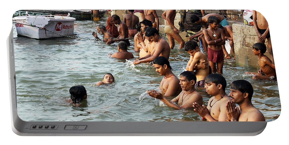 India Portable Battery Charger featuring the photograph Morning Prayers And Ablutions by PJ Boylan