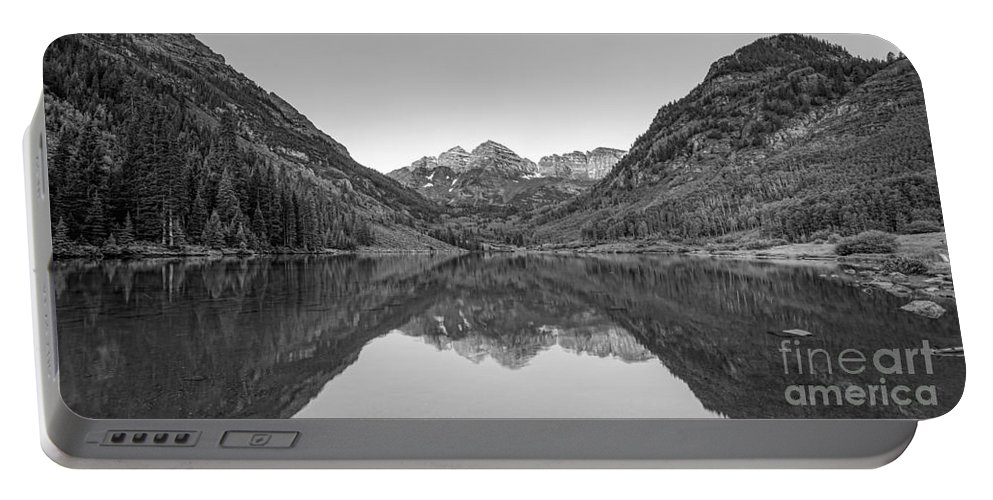 Maroon Lake Portable Battery Charger featuring the photograph Morning Reflections Bw by Michael Ver Sprill
