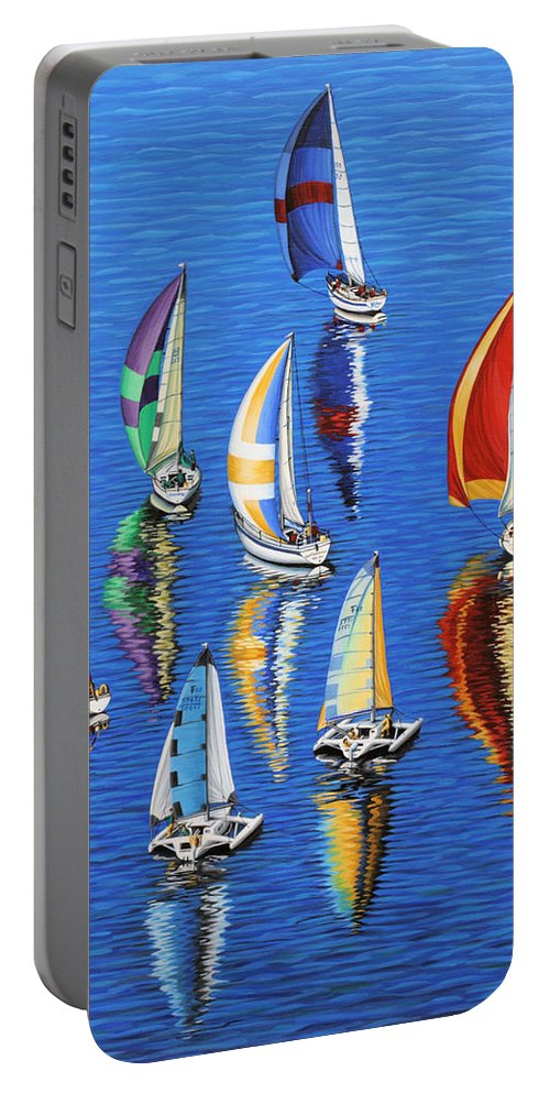 Ocean Portable Battery Charger featuring the painting Morning Reflections by Jane Girardot