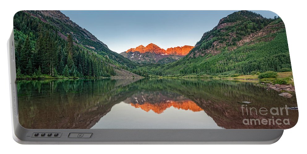 Maroon Lake Portable Battery Charger featuring the photograph Morning Reflections by Michael Ver Sprill
