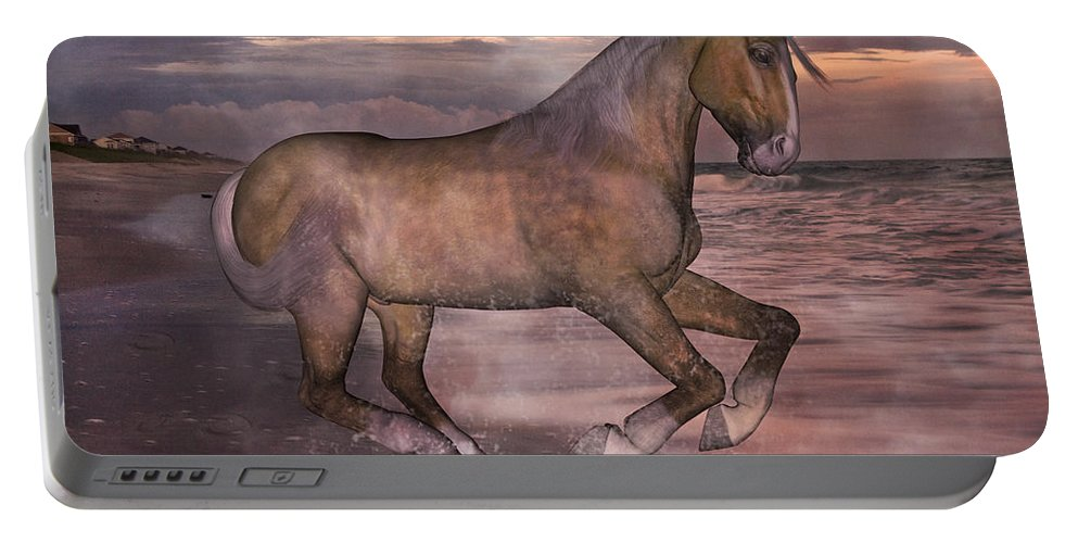 Horse Portable Battery Charger featuring the mixed media Morning Spirit by Betsy Knapp