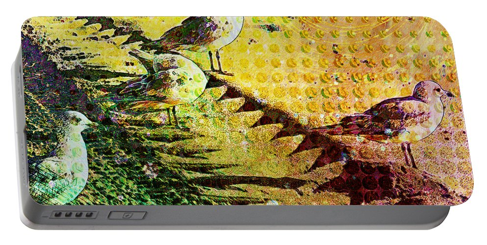 Ocean Portable Battery Charger featuring the digital art Morning Stroll by Barbara Berney