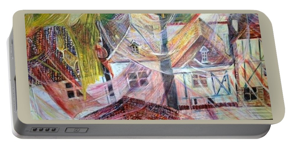 Village Portable Battery Charger featuring the painting Morning Sunrise by Peggy Blood