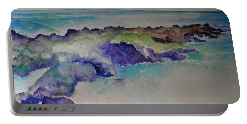 Beach Portable Battery Charger featuring the painting Morning Surf by Sandy Ryan