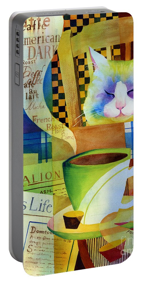 Newspaper Portable Battery Charger featuring the painting Morning Table by Hailey E Herrera