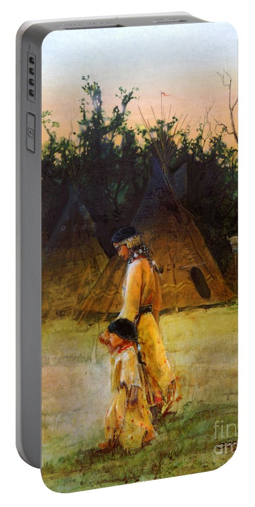 Indian Paintings Portable Battery Charger featuring the painting Morning Walk by Rob Corsetti