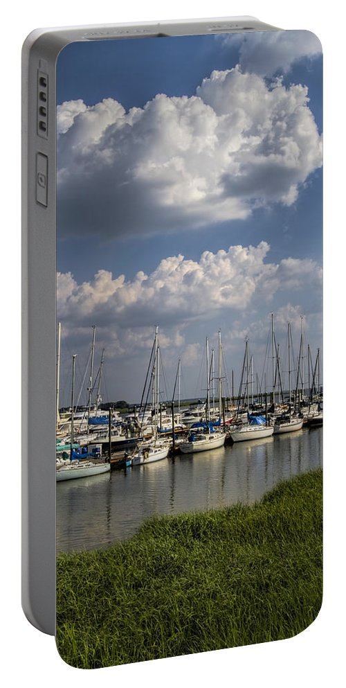 Georgia Portable Battery Charger featuring the photograph Morningstar Marina Boat Harbor Georgia by Kathy Clark