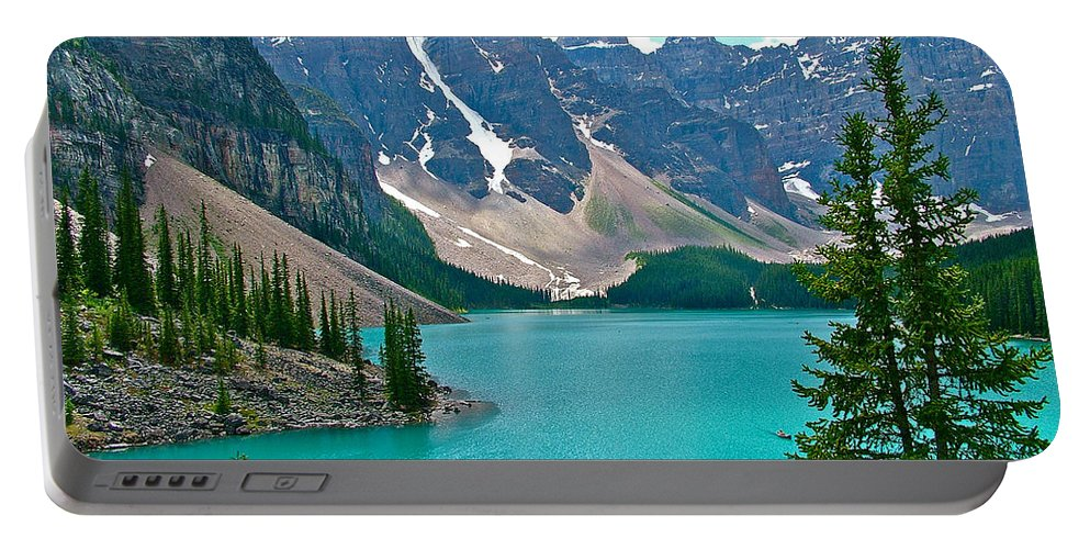 Morraine Lake In Banff National Park Portable Battery Charger featuring the photograph Morraine Lake In Banff Np-alberta by Ruth Hager