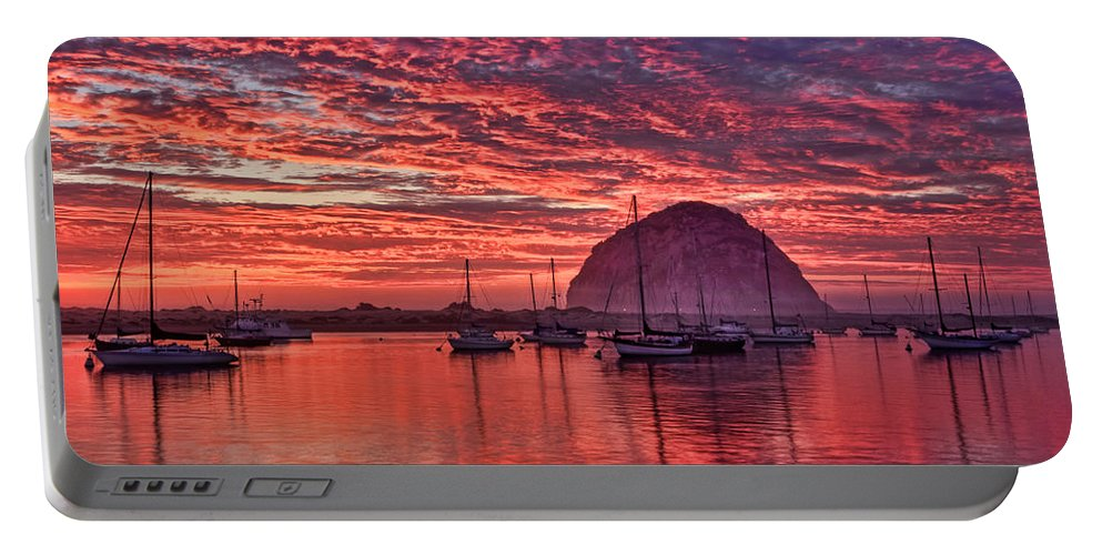 Beach Portable Battery Charger featuring the photograph Morro Bay On Fire by Beth Sargent