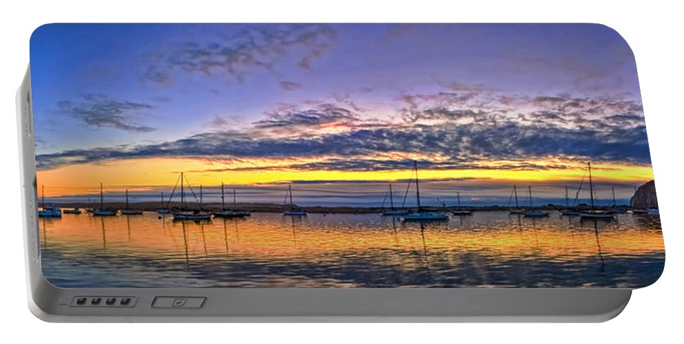Panorama Portable Battery Charger featuring the photograph Morro Bay Panorama by Beth Sargent