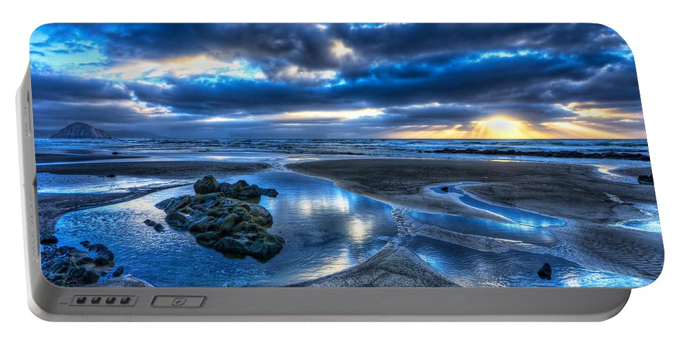 Morro Bay Portable Battery Charger featuring the photograph Morro Strand Reflections by Beth Sargent