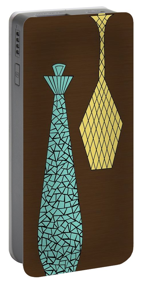 Mid Century Modern Portable Battery Charger featuring the digital art Mosaics 1 by Donna Mibus