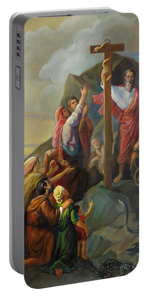 Moses Portable Battery Charger featuring the painting Moses And The Brazen Serpent - Biblical Stories by Svitozar Nenyuk