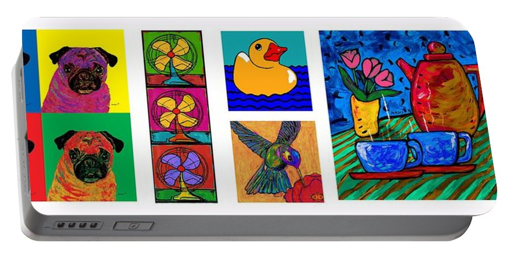 Portable Battery Charger featuring the painting Moses Collage by Dale Moses