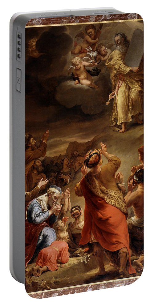 Ferdinand Bol Portable Battery Charger featuring the painting Moses Descends From Mount Siniai With The Ten Commandments by Ferdinand Bol