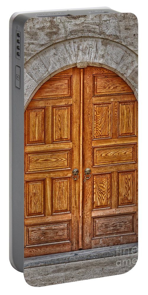 Door Portable Battery Charger featuring the photograph Mosque Doors 06 by Antony McAulay