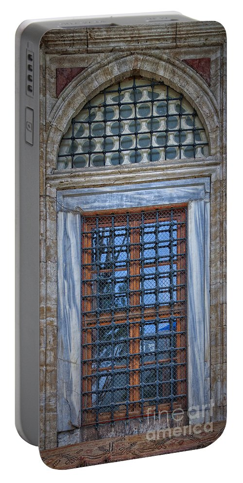 Mosque Portable Battery Charger featuring the photograph Mosque Window by Antony McAulay
