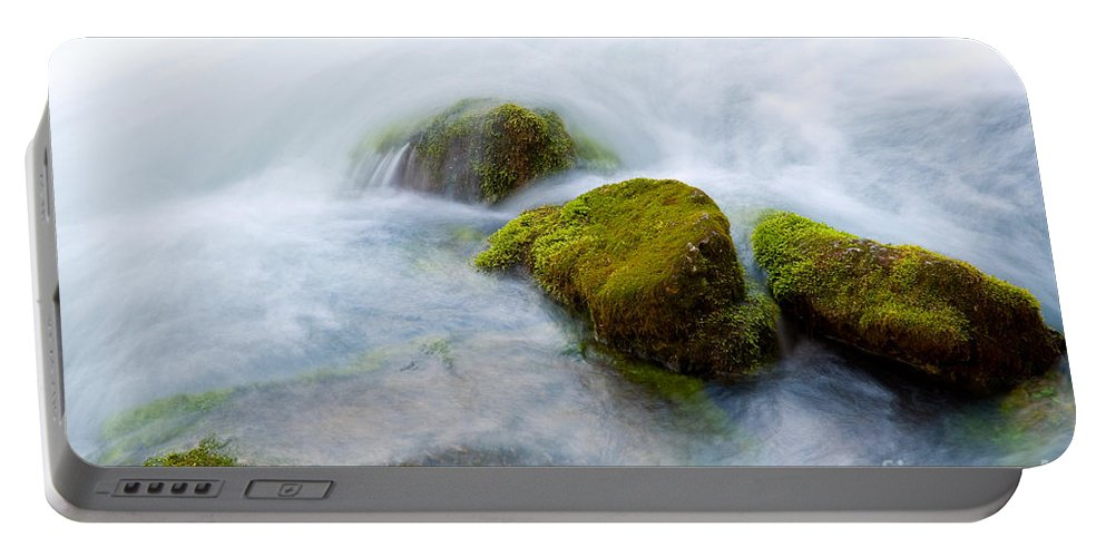 Ozarks Portable Battery Charger featuring the photograph Mossy Rocks by Steve Stuller