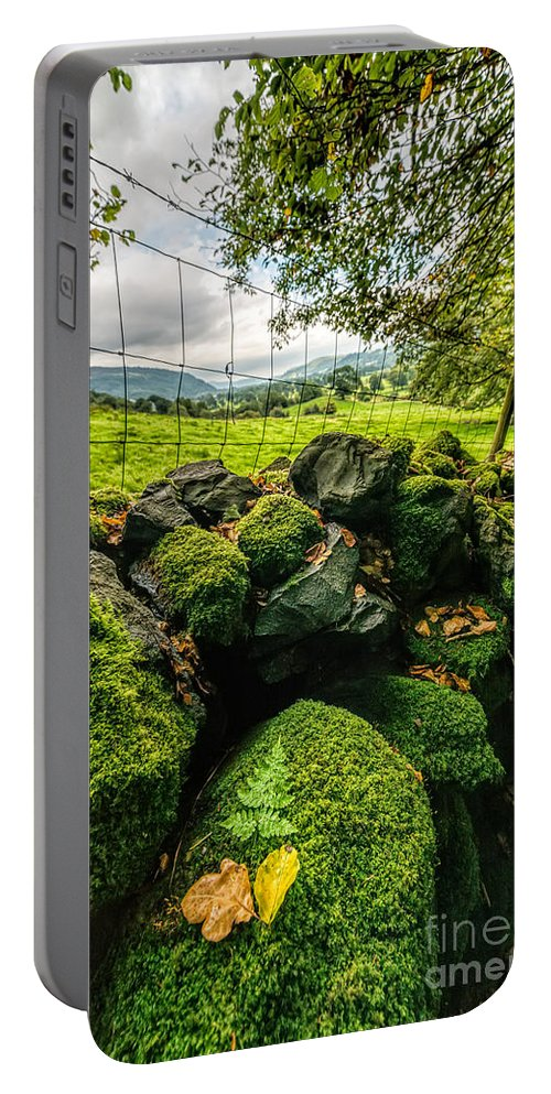 Hdr Portable Battery Charger featuring the photograph Mossy Wall by Adrian Evans