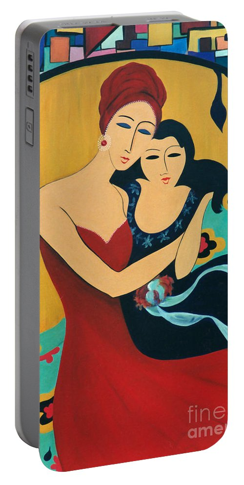 #motherandchild Portable Battery Charger featuring the painting Mother and Child by Jacquelinemari