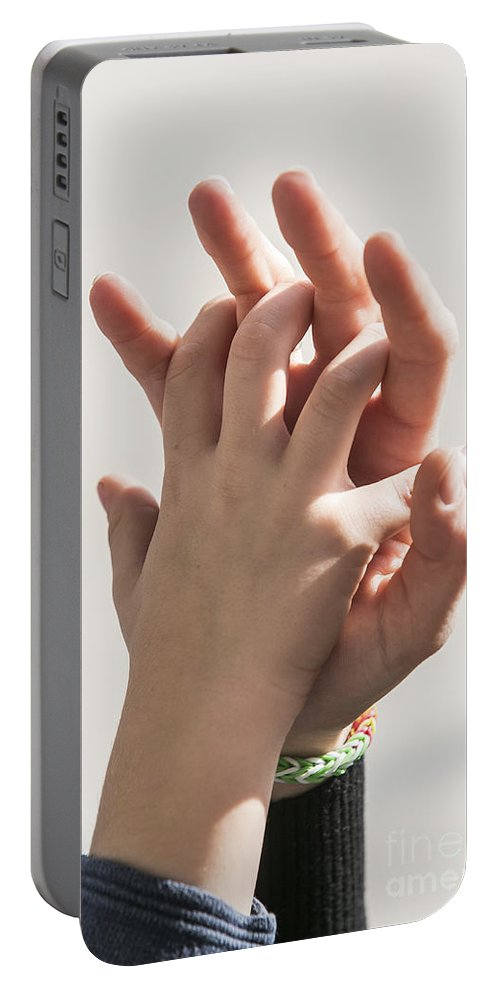 Togetherness Portable Battery Charger featuring the photograph Mother And Child Linking by Sv