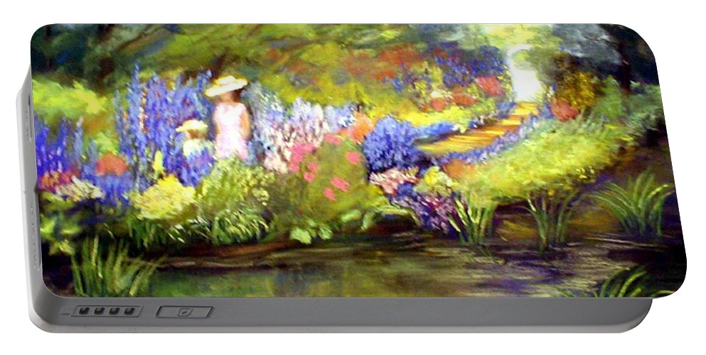 Flower Garden Portable Battery Charger featuring the painting Mother And Daughter by Gail Kirtz