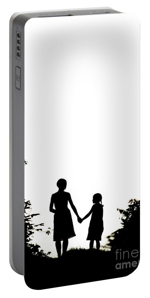 Mother Portable Battery Charger featuring the photograph Mother And Daughter Holding Hands by Lee Avison