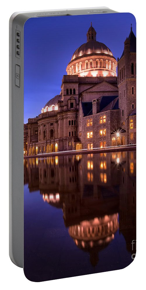 Boston Portable Battery Charger featuring the photograph Mother Church Boston by Jerry Fornarotto