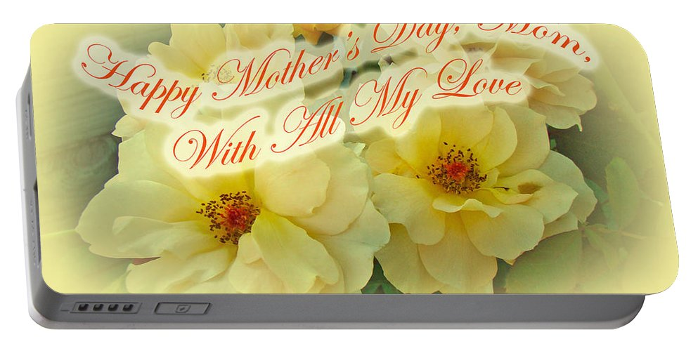 Mothers Day Portable Battery Charger featuring the photograph Mother's Day Card - Yellow Roses by Mother Nature