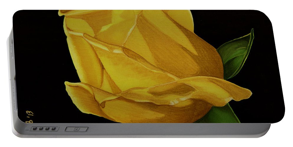 Rose Portable Battery Charger featuring the drawing Mother's Yellow Rose by Cory Still