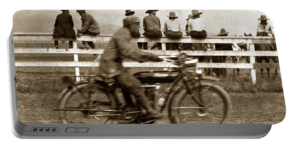 Motorcycle Portable Battery Charger featuring the photograph Motorcycle At Salinas California Rodeo Grounds Circa 1910 by California Views Archives Mr Pat Hathaway Archives