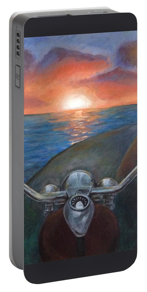 Motorcycle Portable Battery Charger featuring the painting Motorcycle Sunset by Samantha Geernaert