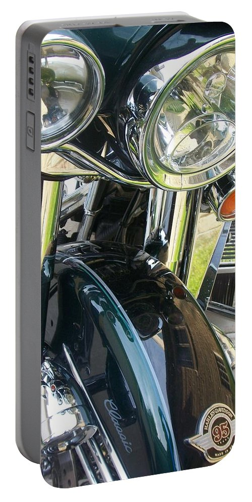 Motorcycles Portable Battery Charger featuring the photograph Motorcyle Classic Headlight by Anita Burgermeister