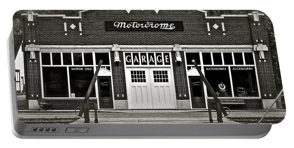 Vintage Portable Battery Charger featuring the photograph Motordrome Garage by Linda Bianic