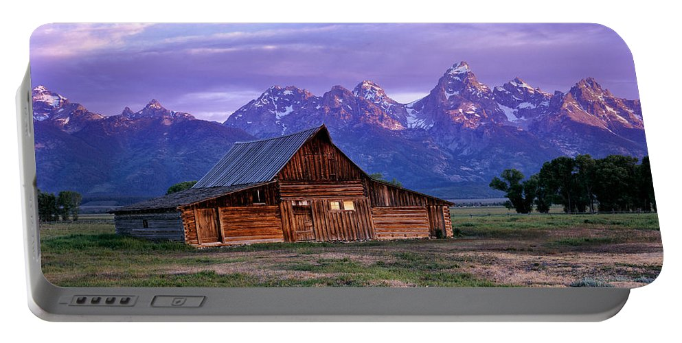 Moulton Barn Portable Battery Charger featuring the photograph Moulton Barn Sunrise by Leland D Howard