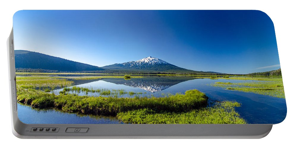 Mountain Portable Battery Charger featuring the photograph Mount Bachelor And Sparks Lake by Jess Kraft