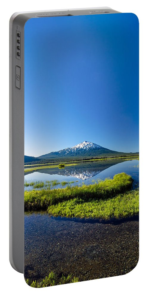 Mountain Portable Battery Charger featuring the photograph Mount Bachelor Vertical Reflection by Jess Kraft