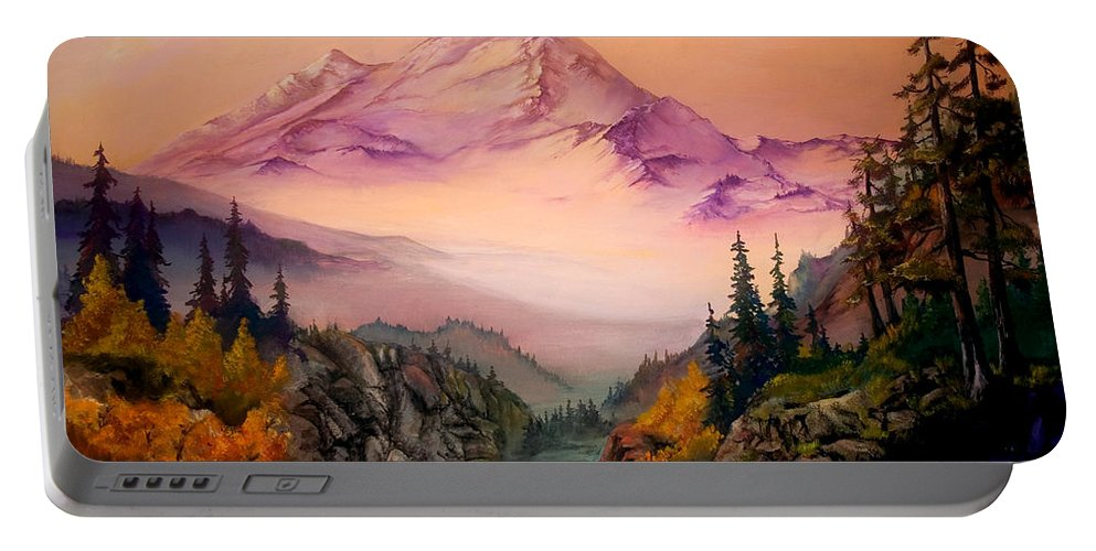 Mountains Portable Battery Charger featuring the painting Mount Baker Morning by Sherry Shipley
