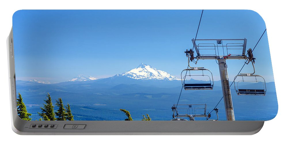 Oregon Portable Battery Charger featuring the photograph Mount Jefferson And Chairlifts by Jess Kraft